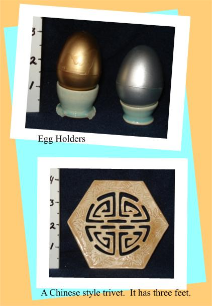 egg holders and trivet