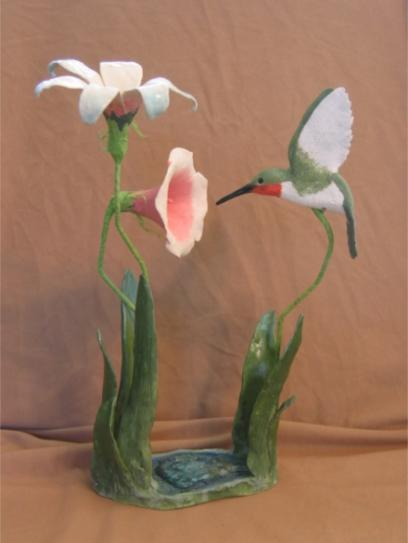 Humming Bird and Two Lillies