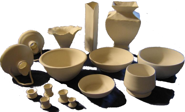 pottery assort before glazing